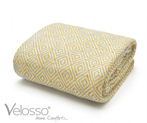 100% Pure Cotton Throw Luxury Diamond Woven Check Sofa Bed Throwover Ochre